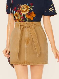 Waist Tie Side Pocket Denim Mini Skirt