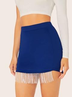 Elastic Waist Rhinestone Fringe Mini Skirt
