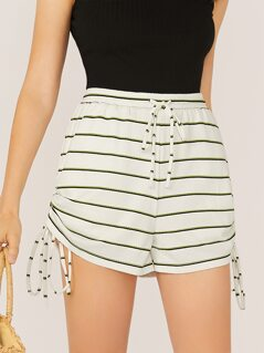 Elastic Waist Side Tie Rib Knit Stripe Shorts