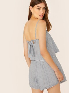Back Tie Wrap Overlay Sleeveless Stripe Romper