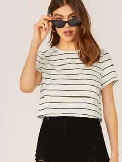 Crew Neck Short Sleeve Rib Knit Stripe T-Shirt