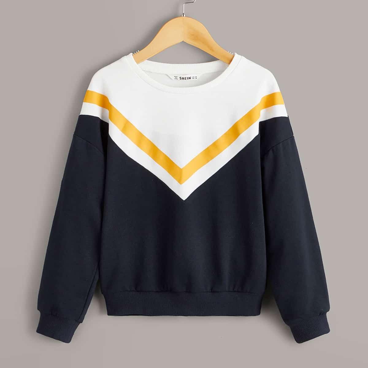 Veel kleurig Sport Chevron Jongens Sweatshirts Kleurblok