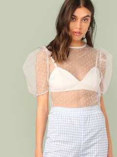 Puff Sleeve Sheer Mesh Jacquard Top Without Bra