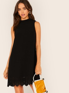 Scalloped Hem Laser Cut Sleeveless Dress