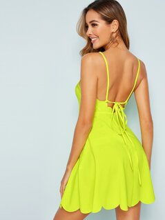 Neon Yellow Crisscross Tie Back Scallop Hem Dress