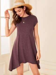 Heather Knit Hanky Hem Tee Dress