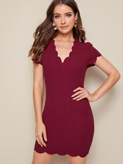 Solid Scallop Trim Bodycon Dress
