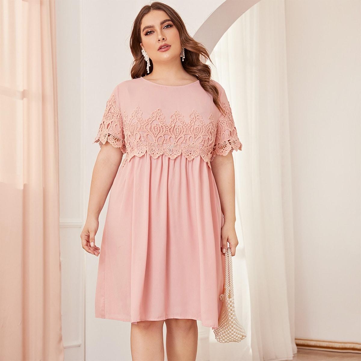 Roze  Elegant Vlak Grote maten jurken Knoop