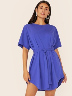 Solid Self Belted Curved Hem Dress