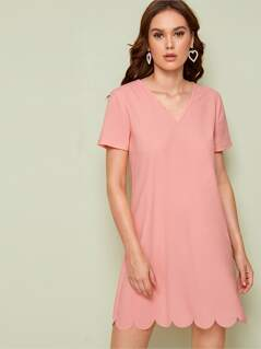 Solid Scallop Hem Dress