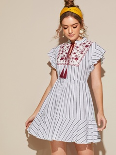 Floral Embroidery Fringe Tie Neck Ruffle Hem Striped Dress