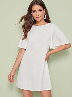 Solid Tie Neck Flutter Sleeve Dress