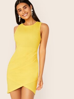 Neon Yellow Zip Back Tank Dress With Wrap Skirt