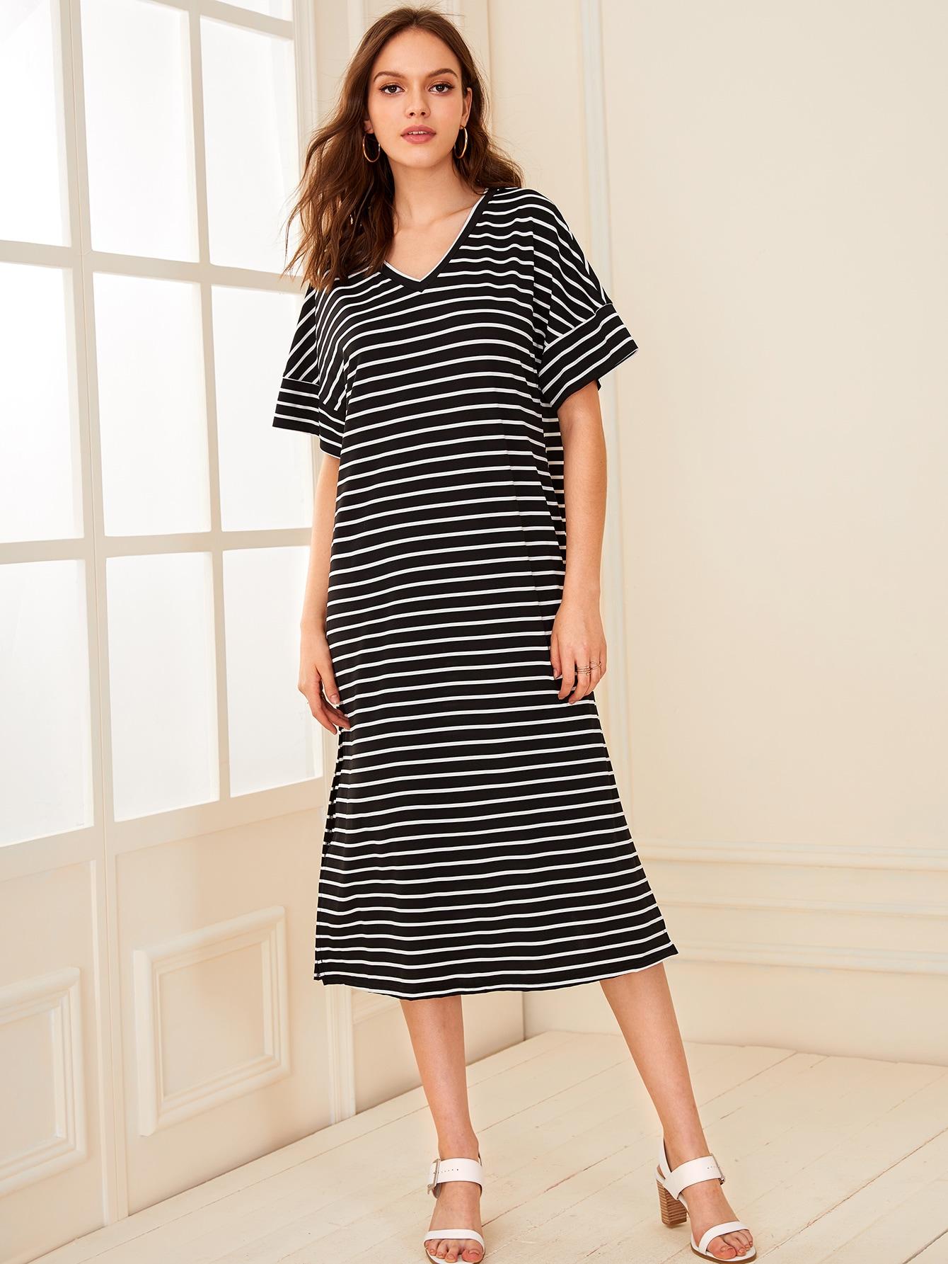 Фото - Полосатое платье с разрезом сбоку от SheIn цвет чёрнобелые