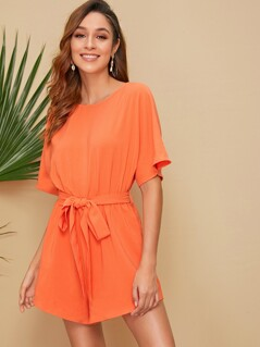 Neon Orange Belted Dolman Romper