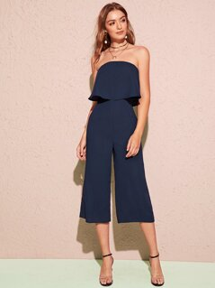Solid Flounce Foldover Front Wide Leg Tube Jumpsuit