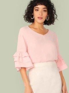 V-neck Layered Ruffle Sleeve Solid Top