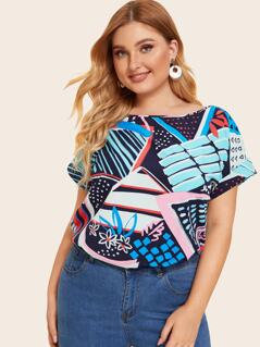 Plus Cuffed Mixed Print Top