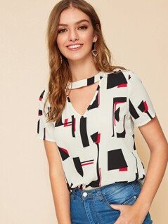 Cut Out Front Geo Print Top
