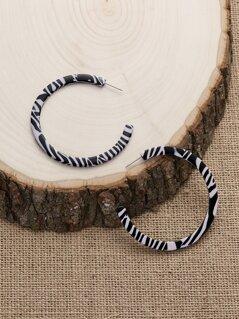 Zebra Print Large Acrylic Open Hoop Earrings