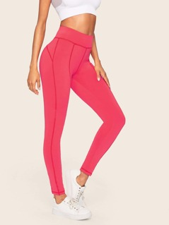 Neon Pink Wide Waistband Contrast Topstitching Leggings