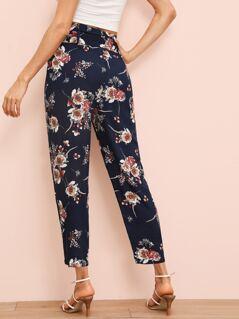 Floral Print Paperbag Waist Belted Pants