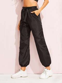 Push Buckle Belted Lantern Wind Pants