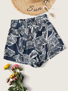 Paperbag Waist Tropical Print Belted Shorts