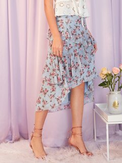 Layered Ruffle Trim Asymmetrical Hem Floral Skirt