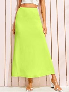 Neon Lime Elastic Waist Skirt