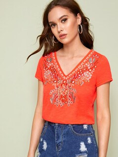 Neon Orange Embroidered Tee