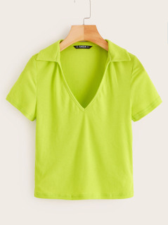 Neon Lime Collared Form Fitted Top