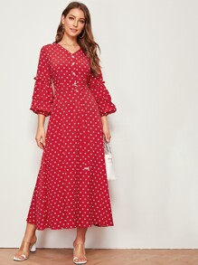 Polka Dot Frill Trim Sleeve Belted Dress