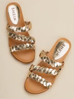 Metallic Multi Braided Strap Flat Slide Sandals