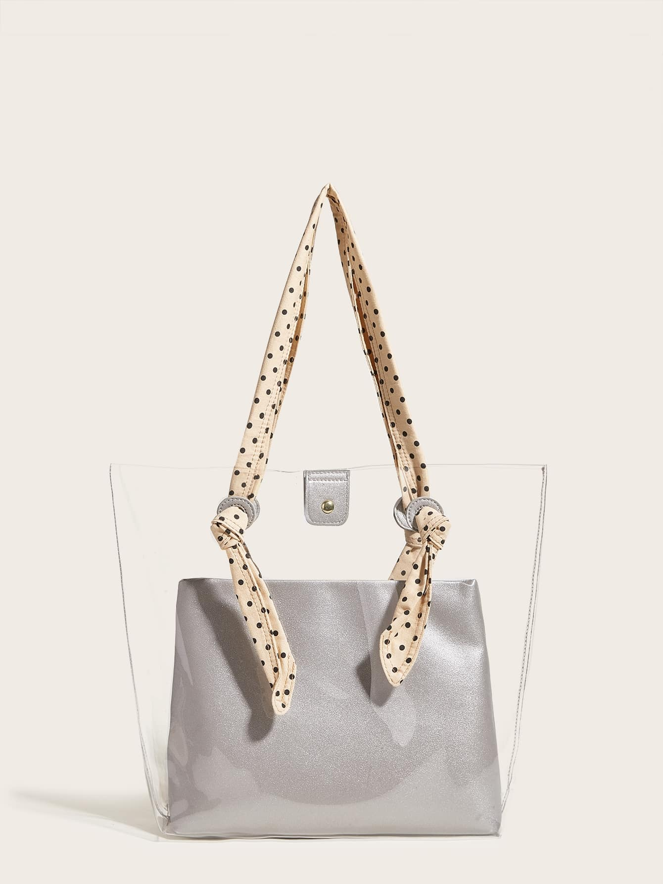 Polka Dot Handle Clear Tote Bag With Inner Pouch