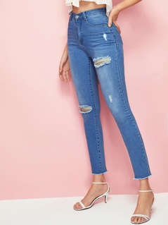 Raw Hem Ripped Detail Crop Jeans