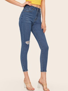 Ripped Detail Skinny Crop Jeans