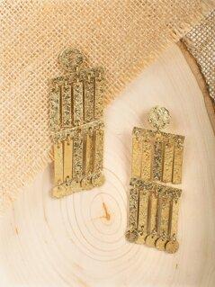 Hammered Geometric Fringe Dangling Earrings