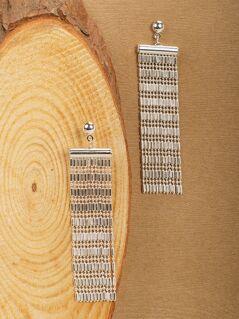 Beaded Tassel Fringe Stud Back Earrings