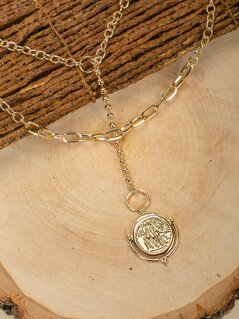 Double Layered Compass Charm Lariat Necklace