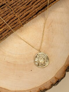 Double Chain Large Coin Pendant Necklace