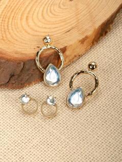 Set Of Four Stud And Hoop Rhinestone Earrings