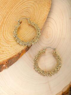 Textured Detail Medium Hoop Earrings