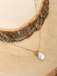 Double Layered Pearl Charm Chain Necklace