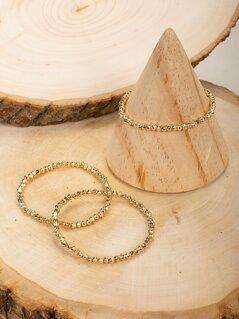 Set Of Three Stretch Bead Bracelets