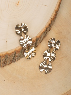 Layered Lily Pad Dangling Stud Back Earrings