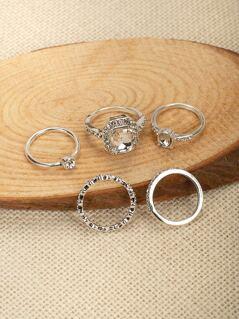 Set Of Five Rhinestone Crystal Stacking Rings