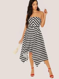 Strapless Belted Stripe Handkerchief Hem Dress