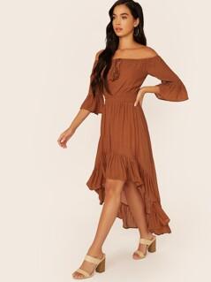 Off Shoulder Bell Sleeve Waist Tie High Low Dress