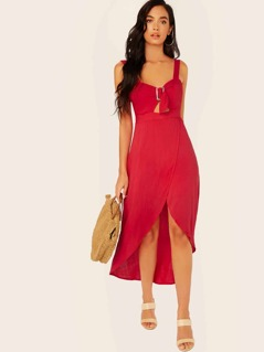 Buckle Sweetheart Neck Sleeveless High Low Dress